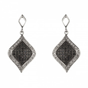 New Sterling 925 Silver Black and White Cz Dangle Earrings with Gift BOX