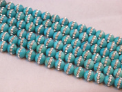 Natural Turquoise with One-line Rhinestone Round 8mm 15.5'' Strand Beads Gemstone 45pcs