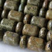 "A 16"" strand of African Green Brecciated Jasper 14x18mm Alternating Barrel and Rondelle Beads"