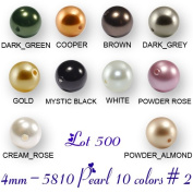 Wholesale Lot 500 4mm. 5810 Crystal Pearl Beads 10 Colours