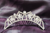 Princess Bridal Wedding Tiara Comb with White/Clear Crystal C15731