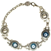Silver Plated Metal and Glass Evil Eye Bracelet