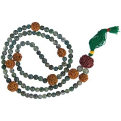 Mala Prayer Beads Rudraskha Seeds & Moss Agate