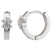 New 925 Sterling Silver Cz Flower Huggie Earrings
