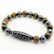 Men's 9 Eyes Tibetan Dzi Bead Magnetic Hematite Tiger's Eye Bracelet 22cm