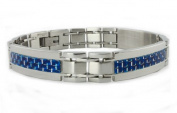 Stainless Steel Men's Link Bracelet w/ Blue Carbon Fibre Inlay 22cm