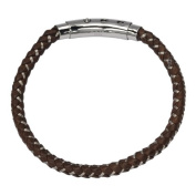 Men's Mix Brown Woven Leather Bracelet w/ Self-Adjustable Polished Steel