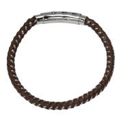 Men's Mix Brown Woven Leather Bracelet w/ Self-Adjustable Polished Steel