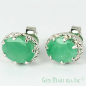 Beautiful Sterling Silver Emerald Studs Wire - Oval 6x8mm Emerald - 4 Prong Setting