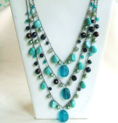 Blue Green Three Strands Beads Necklace with Extension