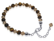 Sterling Silver 6mm Tiger Eye Beads & Crystal 7 to 9 inch Adjustable Bracelet Made with. Elements