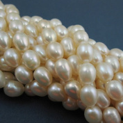 Freshwater Pearls Beads 7-9mm Oval Shape Creamy White AA Quality