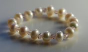 Cultured Freshwater Pearl and Glass Crystal Bracelet for Girls