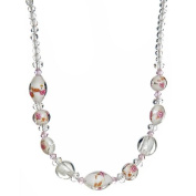 "Lova Jewellery ""Winter Flowers"" White Hand-Blown Venetian Murano Glass Necklace"