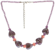 "Lova Jewellery ""Violet Hearts"" Hand-Blown Venetian Murano Glass Necklace"