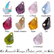 Wholesale Lot 20 Baroque Pendant 16mm. 6090 Crystal Beads - 10 hot colours : Crystal AB, Golden Shadow, Amethyst, Aquamarine, Light Rose, Lt Amethyst, Ruby, Topaz, Jet, Olivine