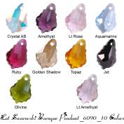 Wholesale Lot 20 Baroque Pendant 16mm. 6090 Crystal Beads - 10 hot colours : Crystal AB, Golden Shadow, Amethyst, Aquamarine, Light Rose, Lt Amethyst, Ruby, Topaz, Jet, Olivine
