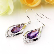 Elegant Silver Earrings-100% Pure 925 Sterling Silver Earrings w/High Quality. Crystal, 1.5cm x 4.2cm and Weigh 4.6g,Super Saving w/Free Jewellery Box and Silver Polishing Cloth. .  d. Perfect for Gifts.