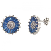 New Gorgeous 925 Sterling Silver Cz Sapphire Earrings with Gift Box