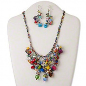 Necklace and earring set, glass / steel / multi-gemstone (natural / coated / dyed / imitation / manmade), multicoloured, bib style with chips, 18-19 inches adjustable with button-style clasp, 22-inch drape, 72x19mm earrings with fishhook earwire. Sold  ..