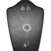 """Necklace and earring, acrylic rhinestone and antiqued silver-finished brass and """"pewter"""" (zinc-based alloy), black, 49mm single-sided flat round with pattern and slide bail, adjustable to 38-inch bolo-style box chain, 40x22mm earrings with fishhook ear .."""