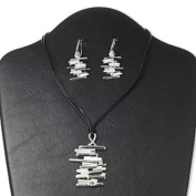 """Necklace and earring. crystal / leather (dyed) / silver-finished steel and """"pewter"""" (zinc-based alloy), black and crystal clear, 59x41mm stick design, 16 inches with 3-inch extender chain and lobster claw clasp, 2-inch earrings with fishhook .."""