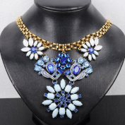 New Fashion Link Chain Bright Blue Crystal Flower Bib Statement Choker Necklace