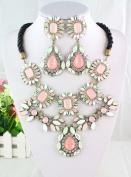 2013 Fashion Design Rainbow Gorgeous Luxury Bib Statement Necklace Earrings Set