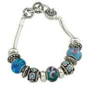Blue Flower Beads with Crystal Charm Murano Bracelet