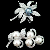 Set of Black Pearl Brooch Pin & Leaf Art Flower Pearl Brooch