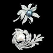 Set of Crystal Brooch Pin & Black Pearl Flower Brooch