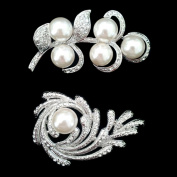 Set of Crystal Brooch Pin & Flower Leaf Art Pearl Brooch Pin Htr506+htr94