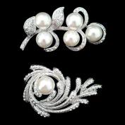 Set of Crystal Brooch Pin & Flower Leaf Art Pearl Brooch Pin Htr506+htr94
