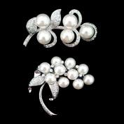 Set of Flower Brooch Pin & Alloy Rhinestone Pearl Brooch