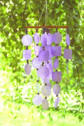 Purple Capiz Chime w/ Wooden Beads - Handcrafted, Lifetime Warranty on Tuning