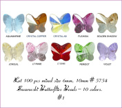 Wholesale Lot 100 pcs Mixed Butterflies 6mm - 10mm. 5754 Crystal Beads. 10 colours (#1).