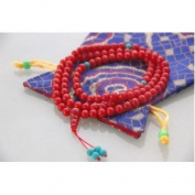 Tibetan Red Coral Mala 108 Beads for Meditation with Silk Mala Pouch