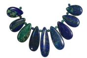 Chrysocolla Azurite Carved Teardrop Bead Set