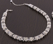 Rhodium Metal, Rhinestone & Crystal Necklace