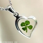 REAL CLOVER 4-LEAF SHAMROCK HEART GOOD LUCK CHARM CELTIC SILVER PENDANT NECKLACE