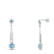New 925 Sterling Silver Aquamarine Cz Earrings