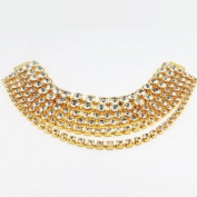 Mode Beads 6-Row Hanging Rhinestone Connector, 17cm , Crystal/Gold