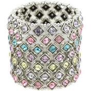 Multi Colour Crystal 7 Row Stretch Bracelet