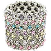 Multi Colour Crystal 7 Row Stretch Bracelet