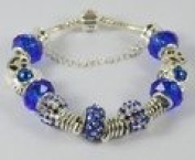 Blue Beaded Charm Bangle Bracelet