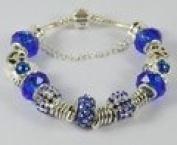 Blue Beaded Charm Bangle Bracelet