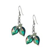 Mother of Pearl Leaf Design Colourful Dark Green Shell Hook Dangle Eardrop Earrings