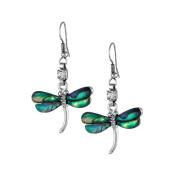 Mother of Pearl Dragonfly Design Colourful Dark Green Shell Hook Dangle Eardrop Earrings
