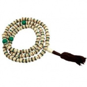 Mala, Bone with Inlay, White Bead; (Meditation Rosary); 7-8 Mm
