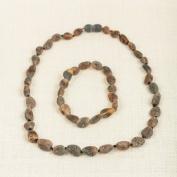 Set of Baltic Amber Adult Necklace 17.5' and Elastic Bracelet 7'
